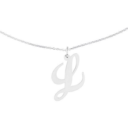 Sterling Silver Large Fancy Script Initial L Charm with 18in