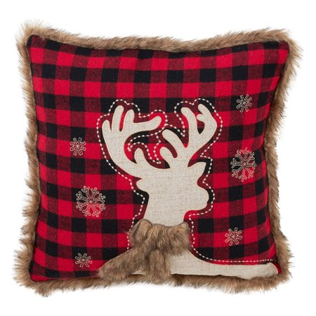 - Holiday Classic Plaid and Faux Fur Reindeer Filled Decorative Throw Pillow, 18