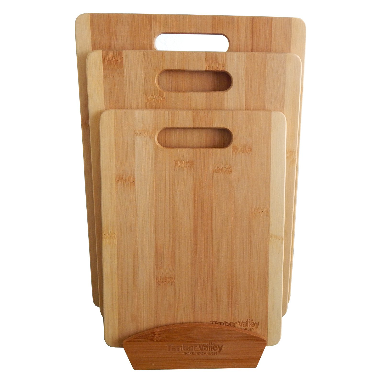 Timber Valley Bamboo 3-piece Cutting Board Set with Stand by Mid America Home & Garden