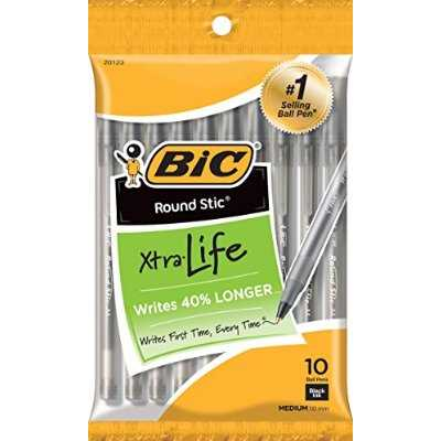 BIC Round Stic Xtra Life Ballpoint Pen, Medium Point (1.0mm), Black, 10 Count