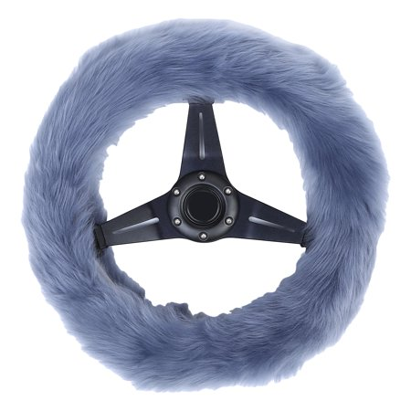 TKOOFN 3Pcs Warm Soft Plush Wool Steering Wheel Cover Furry Fluffy Car Accessory Set