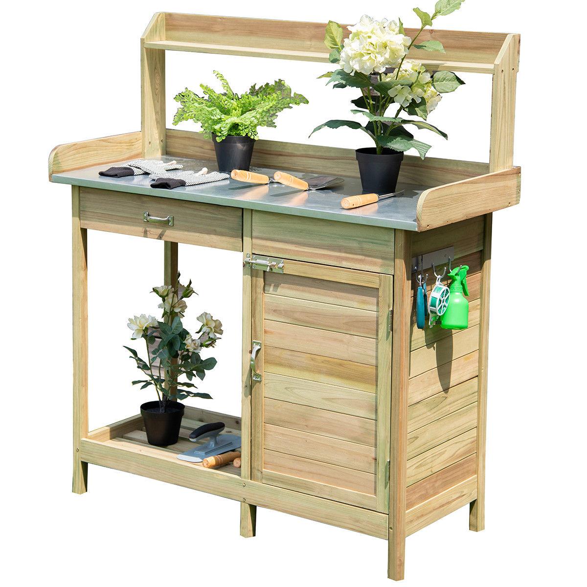 Costway Outdoor Potting Bench Garden Wooden Work Station Metal Tabletop Cabinet Drawer