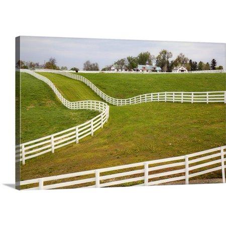 White Horse Farm (Great BIG Canvas Adam Jones Premium Thick-Wrap Canvas entitled White fence on Calumet Horse Farm, Lexington, Kentucky )