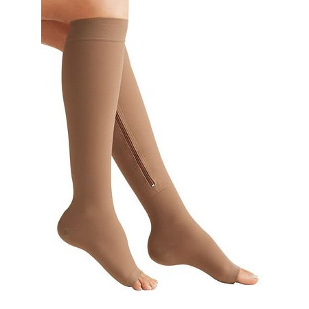 d165937aad Zippered Compression Socks Medical Grade – Firm, Easy-On, (15-20 mmHg),  Knee High, Open Toe, Best Stockings for Men and Women - Varicose Veins,  Post Surgery ...