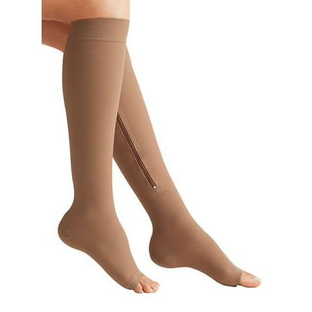 Knee Open Toe Support Stockings - Zippered Compression Socks Medical Grade – Firm, Easy-On, (15-20 mmHg), Knee High, Open Toe, Best Stockings for Men and Women - Varicose Veins, Post Surgery, Edema, Improve Circulation (Medium, Beige)