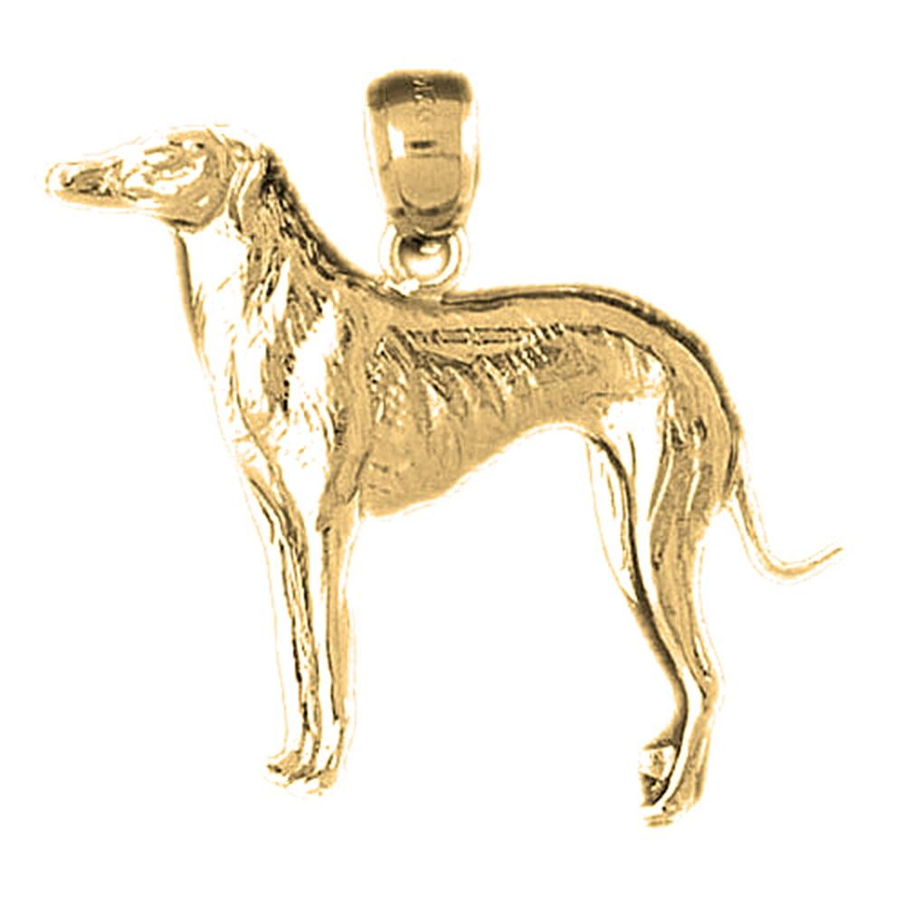 10K Yellow Gold Dog Pendant - 30 mm