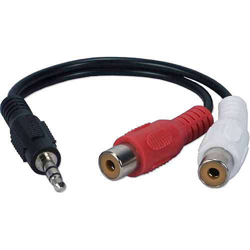 "QVS CC399MF 3.5mm Stereo Male to RCA Female 6"" Cable"