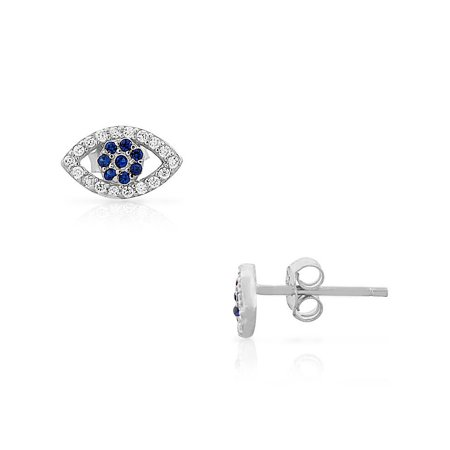 925 Sterling Silver Blue White CZ Evil Eye Stud Earrings