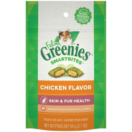 FELINE GREENIES SMARTBITES Skin and Fur Natural Treats for Cats Chicken Flavor, 2.1 oz. Pack (Cat Eye-sonnenbrille Für Rundes Gesicht)