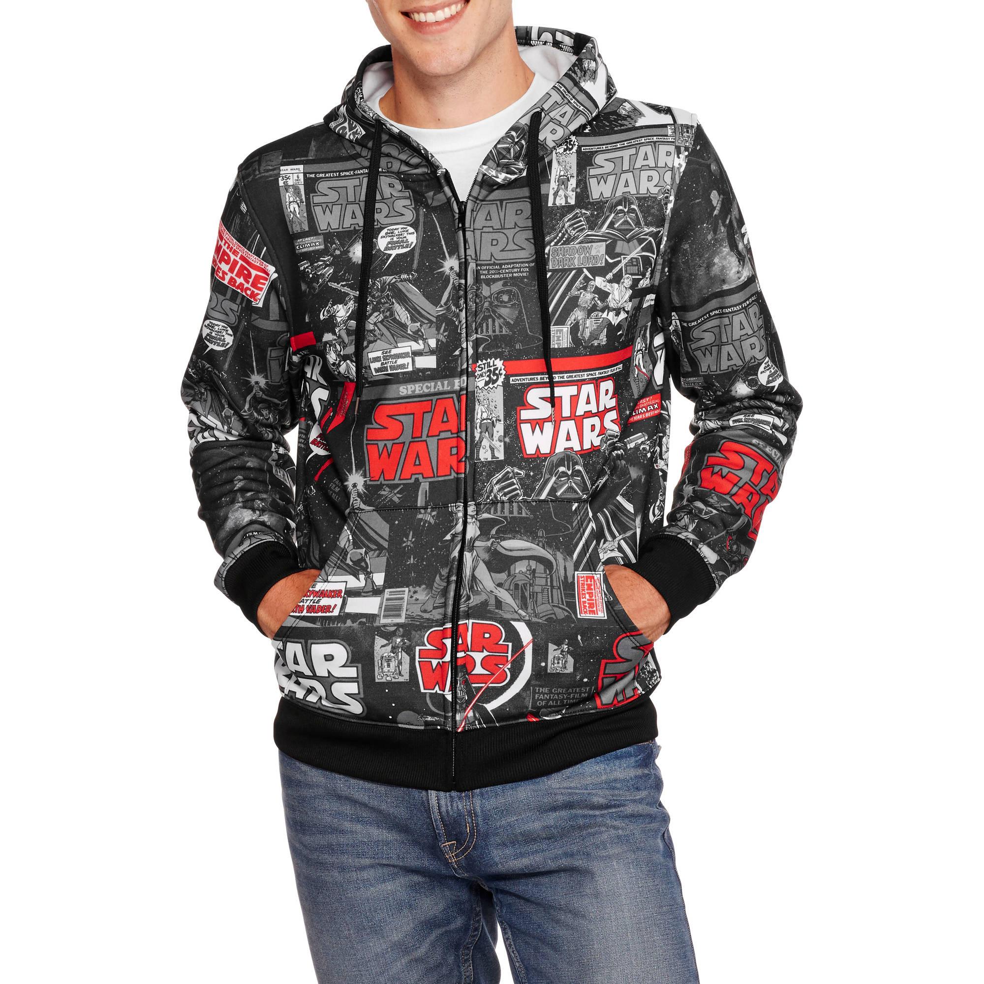 Star Wars Men's All Over Print Full Zip Poly Hoodie