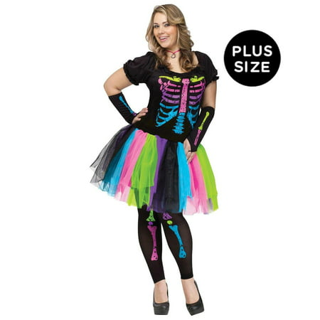 Adult Funky Punk Bones Plus Size Costume - 16-20W - 80s Punk Rocker Costume