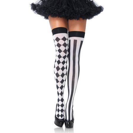 Diamond And Striped Harlequin Thigh Highs Halloween Costume Accessory