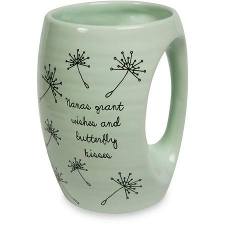 Hand Painted Ceramic Mug - Pavilion - Nanas Grant Wishes and Butterfly Kisses Green Ceramic Hand Warmer Mug
