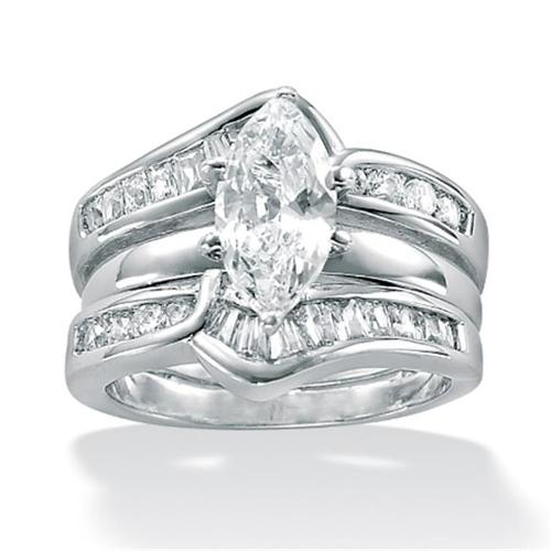 PalmBeach Jewelry 459436 3. 56 TCW Marquise-Cut Cubic Zirconia Sterling Silver 2-Piece Bridal Engagement Ring Wedding