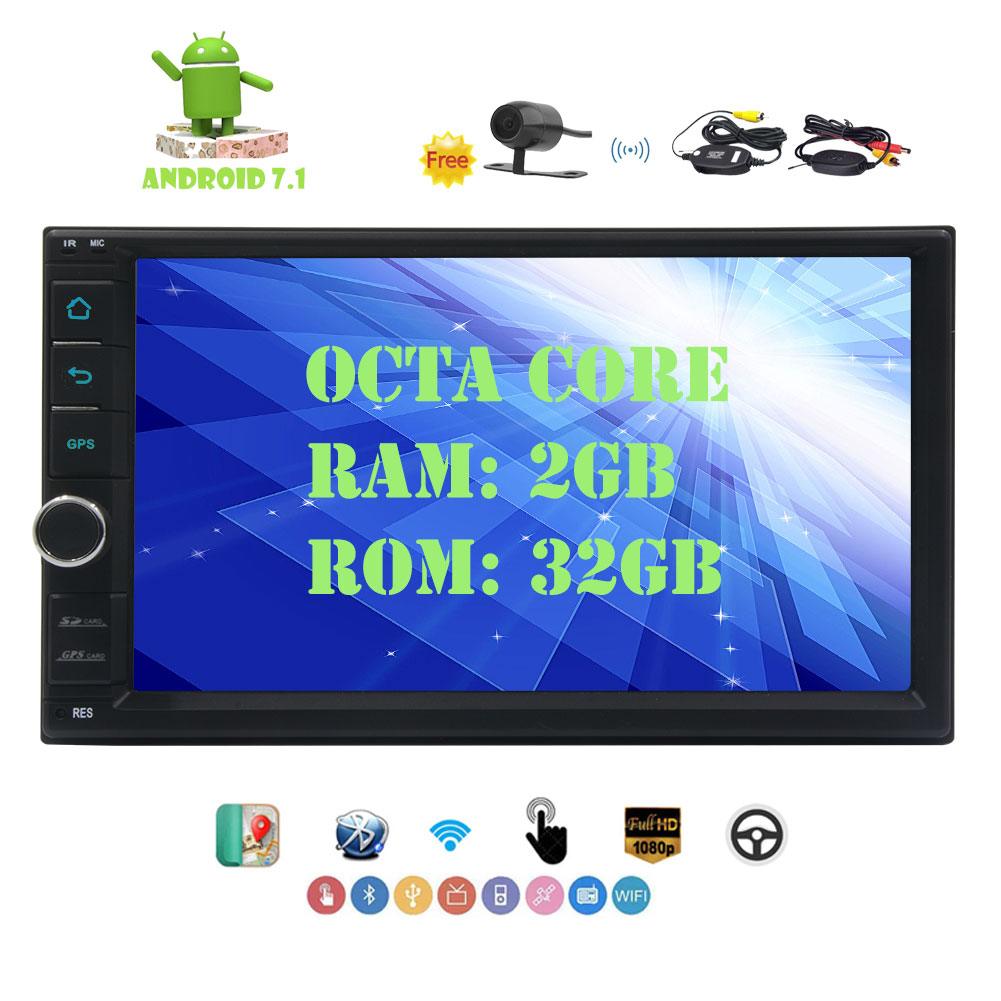 """Android 7.1 Car Stereo 7"" GPS Car Multimedia Player Octa-core 2GB+32GB GPS Sat Nav Double Din Car Autoradio 1024*600 Resolution Touch Screen Bluetooth 3G/4G WIFI Phone Link DAB+ OBD2 USB/SD """