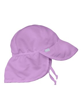 Iplay Flap Sun Hat for Baby Girls Sun Protection Large Billed Hat Solid Lavender Purple-Infant 9-18 Months Baby Girl Hat Is Adjustable To Fit Outdoor Hat With Chin Strap and Neck Flap; Pool Beach Swim