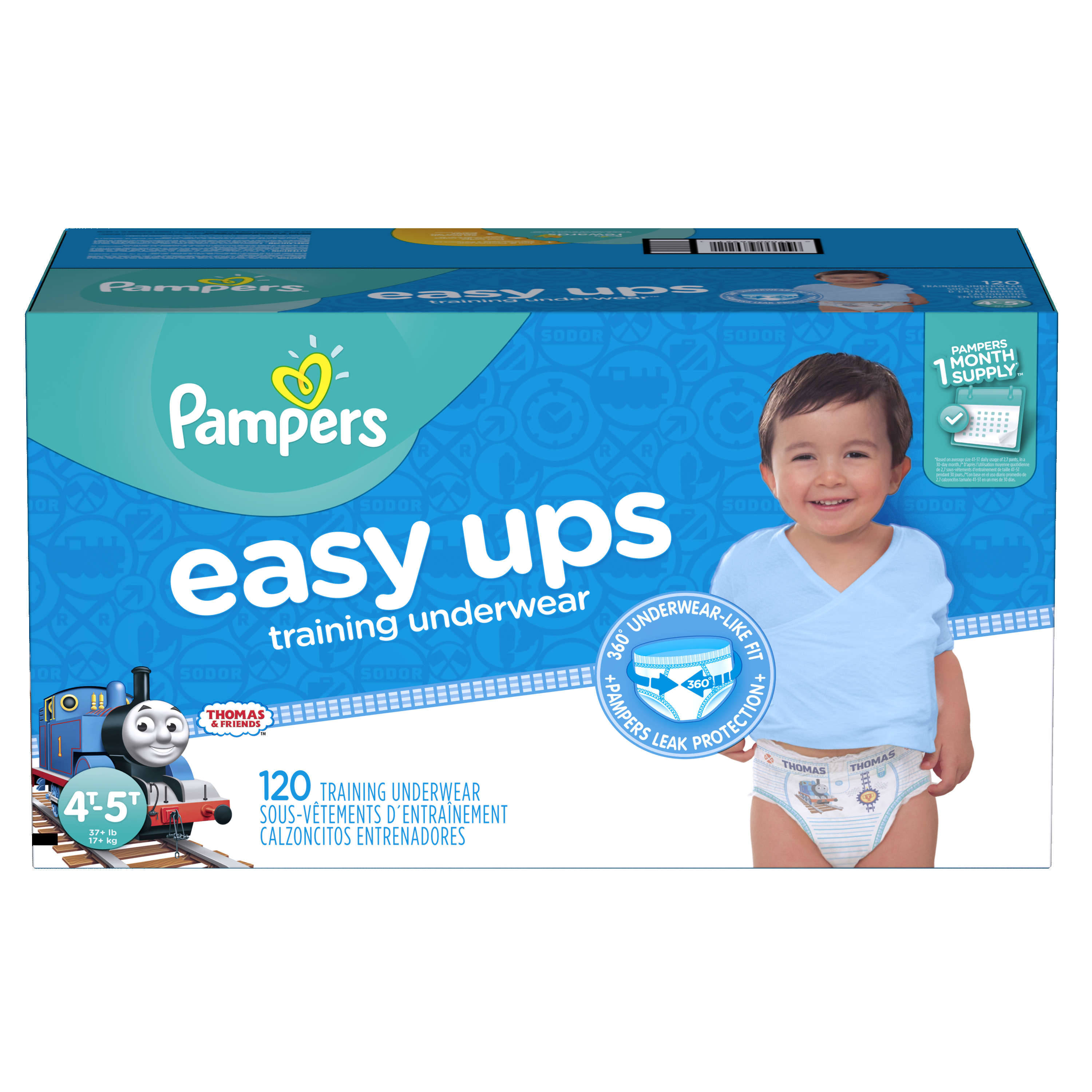 Pampers Easy Ups Boys Training Pants, Size 4T-5T, 120 Pants