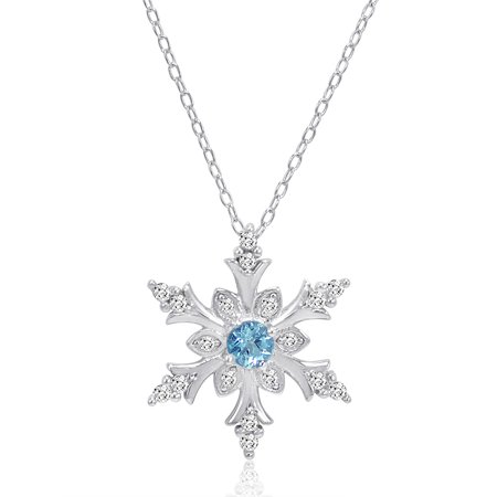 Swiss Blue and White Topaz Snowflake Pendant Necklace in Sterling Silver - Snowflake Necklace Tiffany