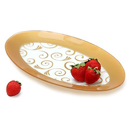 GAC Tempered Glass Oval Platter Serving Tray and Decorative Plate Unbreakable - Chip Resistant - Oven Proof - Microwave Safe - Dishwasher Safe - Stackable (gold) ()