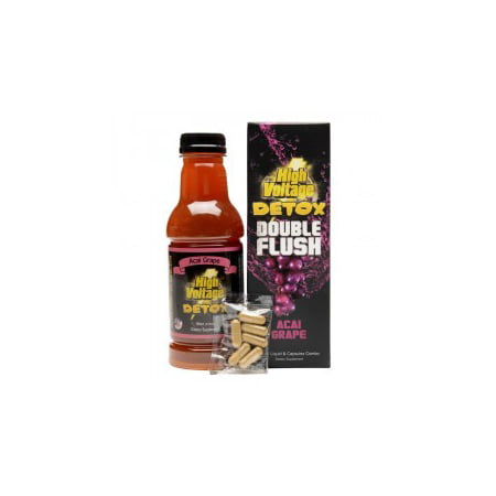 High Voltage Double Flush Detox - Acai Grape (16oz Liquid + Capsules (48 Hour Acai Berry Detox Liquid Side Effects)