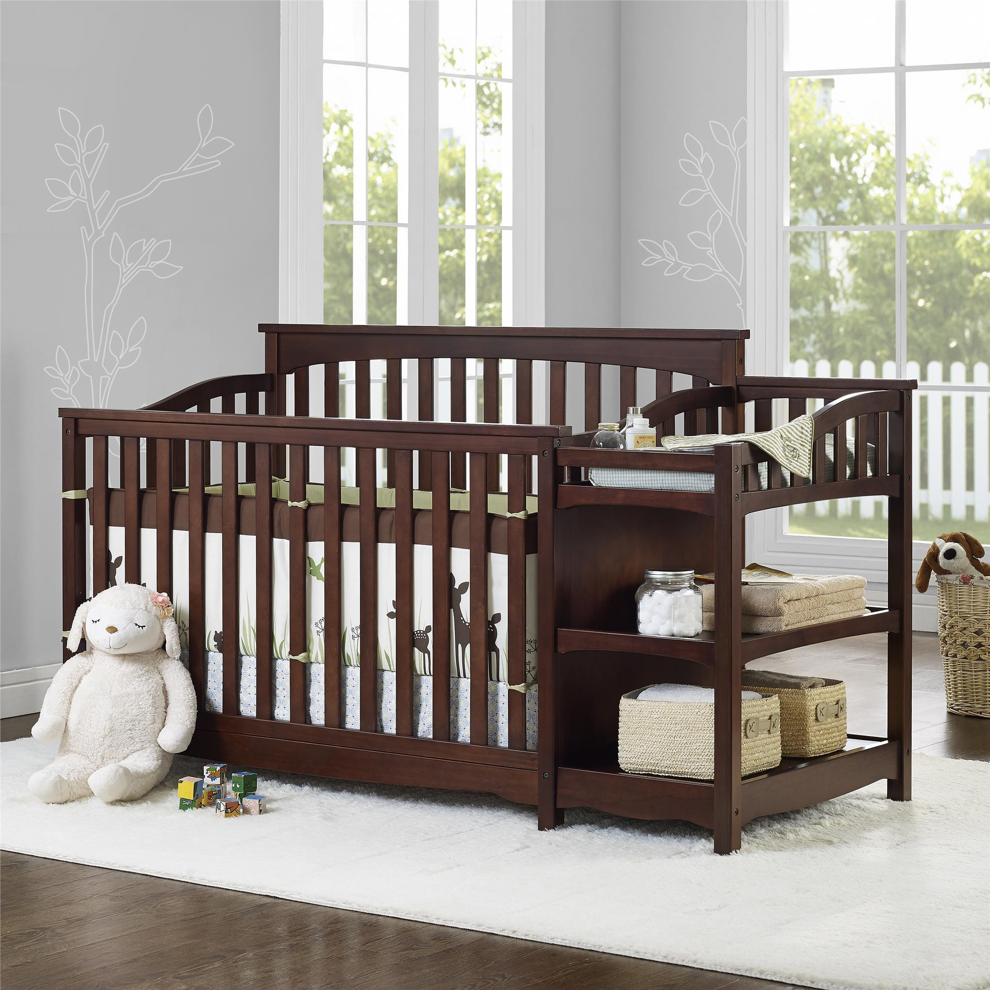 Baby Relax Bailey Fixed-Side Crib and Changer, Espresso