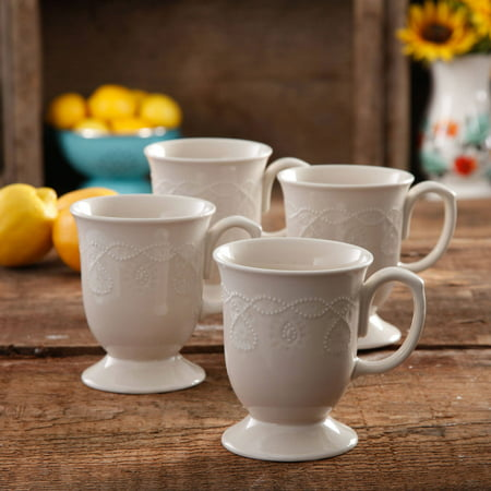 The Pioneer Woman Cowgirl Lace Mug Set, Set of 4 (Classic Coffee Mug)