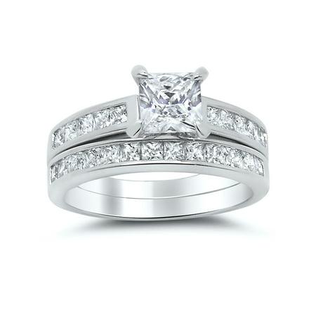 Sterling Silver Princess Cut Bridal Set Engagement Wedding Ring Set (Size 9) Princess Cut Engagement Wedding Ring