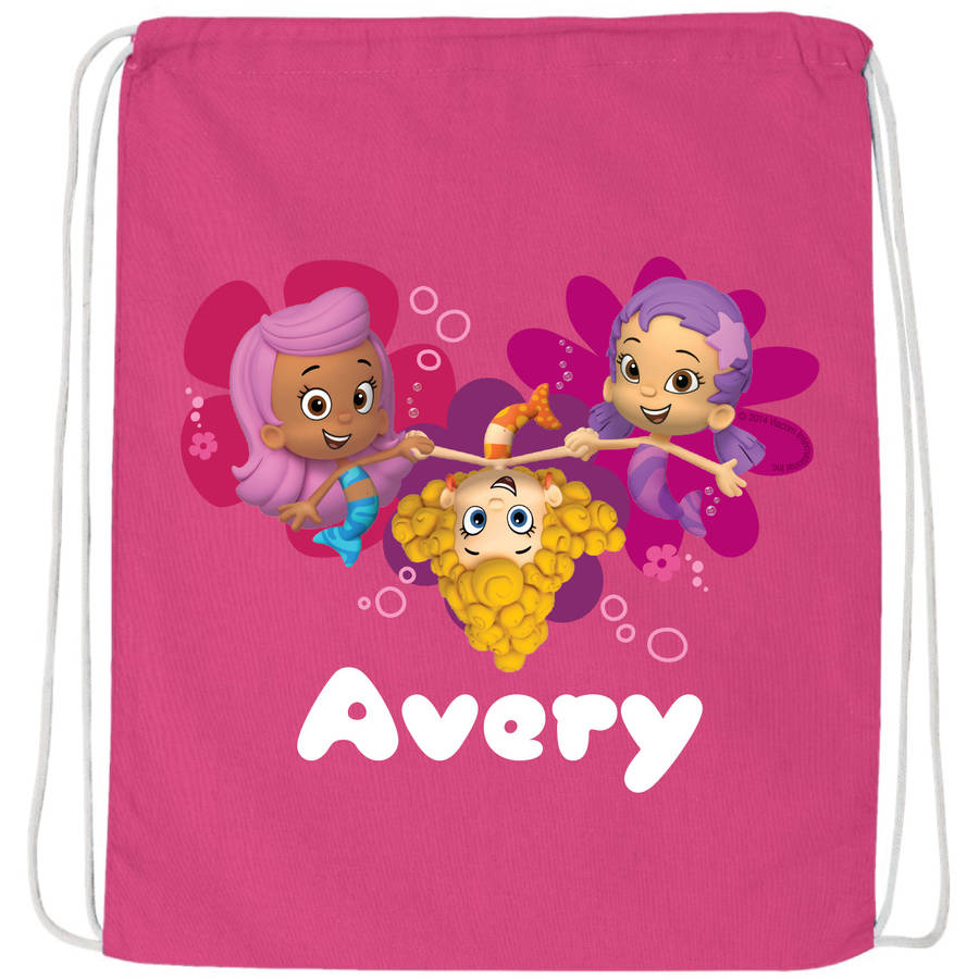 Personalized Bubble Guppies Guppy Girls Hot Pink Drawstring Bag