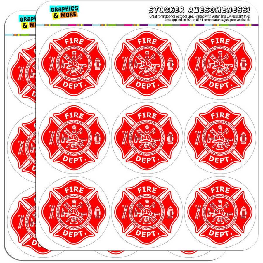 "Firefighter Firemen Maltese Cross Red 18 2"" Planner Calendar Scrapbooking Crafting Stickers"