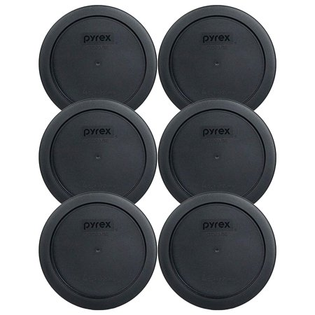 7201-PC 4 Cup Black Round Plastic Food Storage Lid - 6 Pack, Genuine Pyrex Replacement Lids By Pyrex