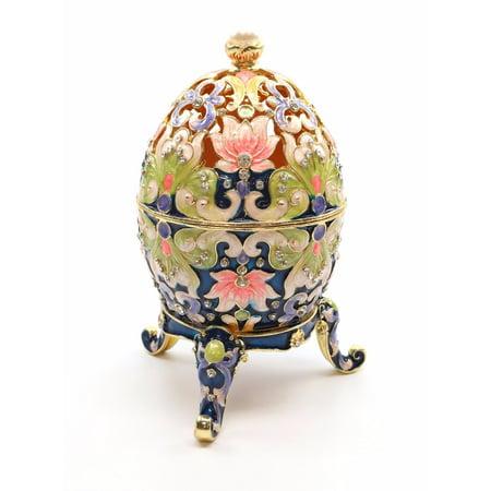 Faberge Style Large Eggs (Faberge Box Enameled Large Floral Egg, 24K Gold Figurines w/ Swarovski)
