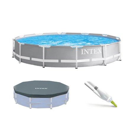 Intex Prism Frame Above Ground Pool Set w/ Pool Cover & Kokido Skooba Vacuum