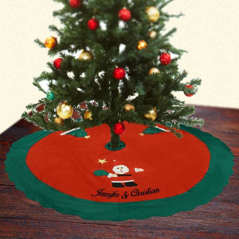 Personalized Santa Christmas Tree Couples Skirt