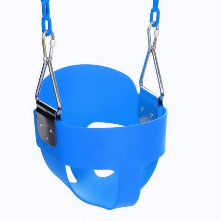 High Full Bucket Swing With Coated Chain,Toddler Swing Set Swing Seat Outdoor Kids Toys RYSTE