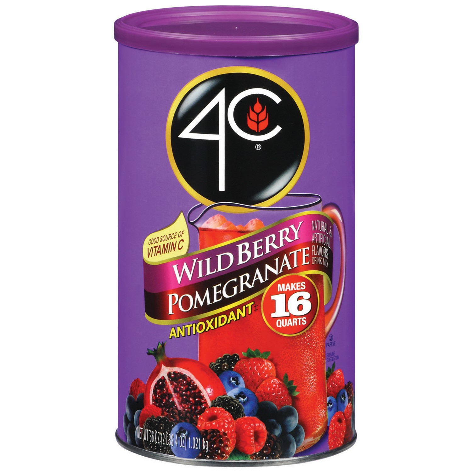 4C Antioxidant Drink Mix, Wild Berry Pomegranate, 36 Oz, 1 Count