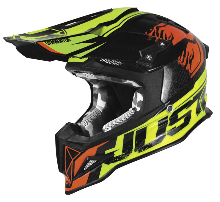 Just 1 J12 Dominator MX Offroad Helmet Lime/Red