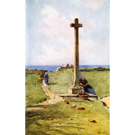 A Breton Calvaire Colour illustration from the book France by Gordon Home published 1918 Poster Print by Hilary Jane Morgan  Design Pics (Green Gordon Pic)