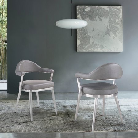 Justin Contemporary Dining Chair in Brushed Stainless Steel and Vintage Gray Faux Leather - Set of -