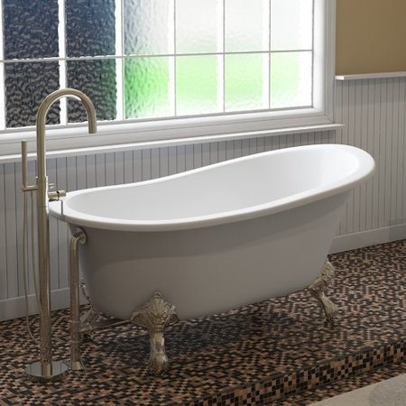 Traditional 61' Cast (Cambridge Plumbing Inc ST61-NH-BN Cast Iron Slipper Clawfoot Tub 61 x 30 in. with No Faucet Drillings and Brushed Nickel Feet)