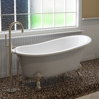 Cambridge Plumbing Inc ST61-NH-BN Cast Iron Slipper Clawfoot Tub 61 x 30 in. with No Faucet Drillings and Brushed Nickel Feet