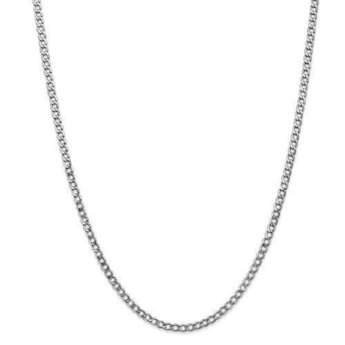 14k White Gold 24in 3.35mm Lightweight Curb Link Necklace Chain by Jewelrypot