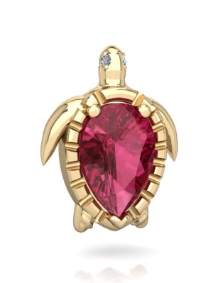 Pink Tourmaline Sea Turtle Pendant in 14K Yellow Gold by