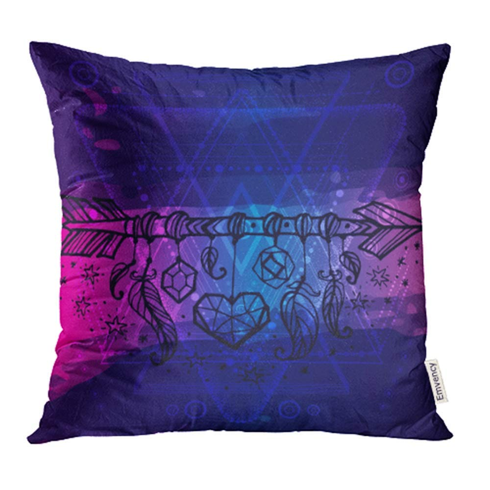 ARHOME Hipster Mystic Sacred Geometry on Handcrafted Blue Pink Watercolor Boho Chic Magic Pillow Case Pillow Cover 16x16 inch Throw Pillow Covers