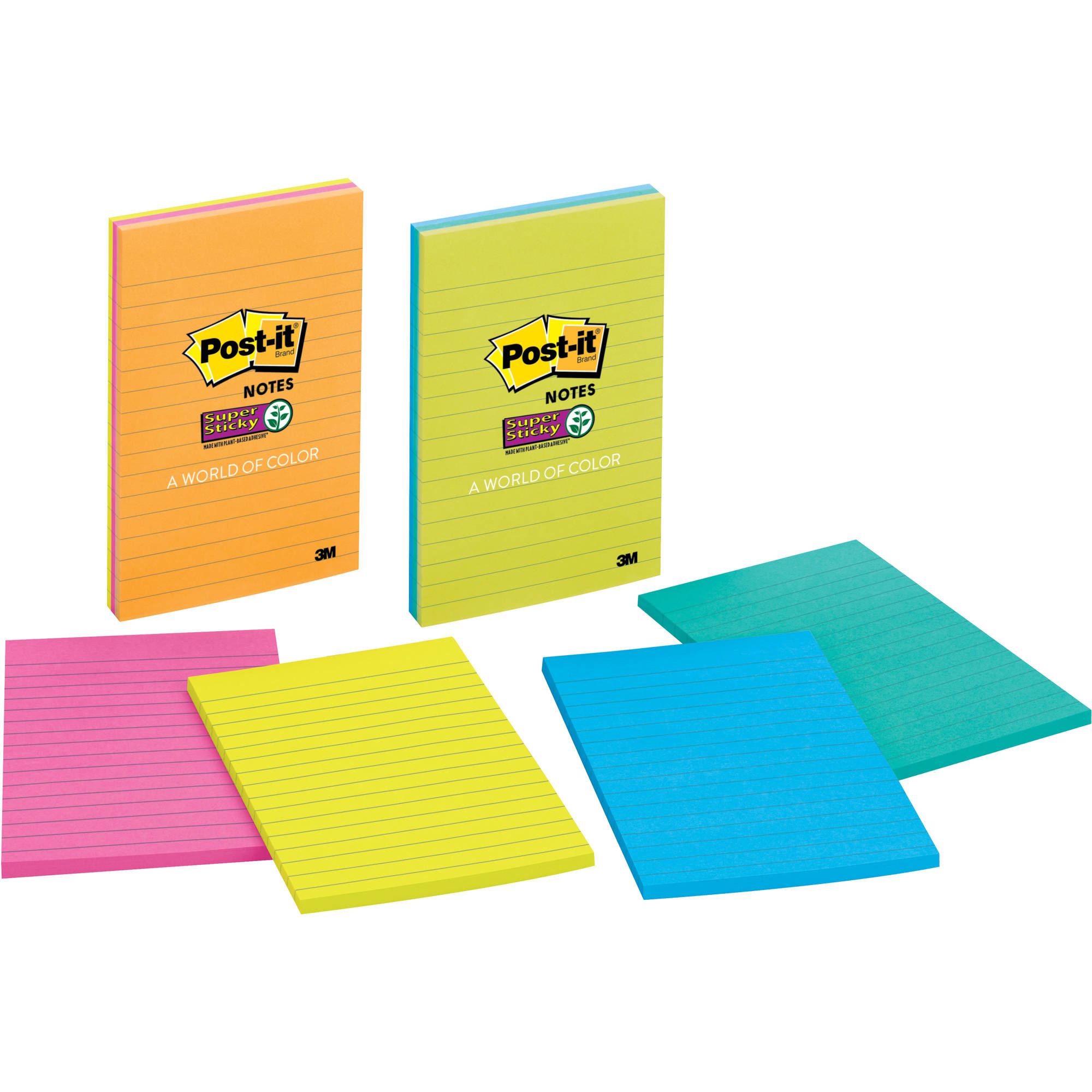 Post-it Super Sticky Lined Notes, 3 Pack, 4 in x 6 in, World of Color Collection