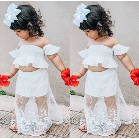 Boutique Toddler Kids Baby Girl White Lace Floral Tops Long Skirt Dress Outfits Clothes - Childrens Boutiques