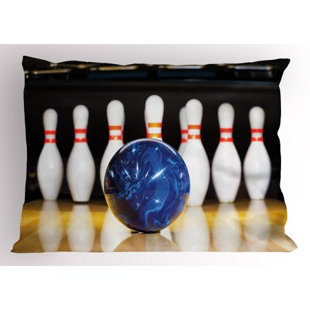 Close Pins (Bowling Party Pillow Sham Blue Abstract Ball on the Lane Pins Close Up View Sports Leisure Time Game, Decorative Standard Queen Size Printed Pillowcase, 30 X 20 Inches, Multicolor, by)