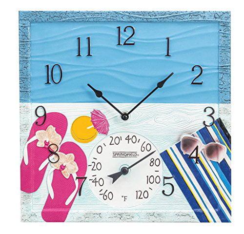 """Springfield 92622 14/"""" Resin Clock-Seashells"""