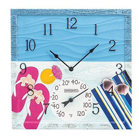 Springfield 92670 14  At The Pool Poly Resin Clock With Thermometer The 14-in. At the Pool Poly Resin Clock with Thermometer from Springfield Precision is a vibrant, fade-resistant clock thermometer. The UV- and weather-resistant design makes it a viable indoor and outdoor thermometer. This hand-painted thermometer only shows the Fahrenheit scale.