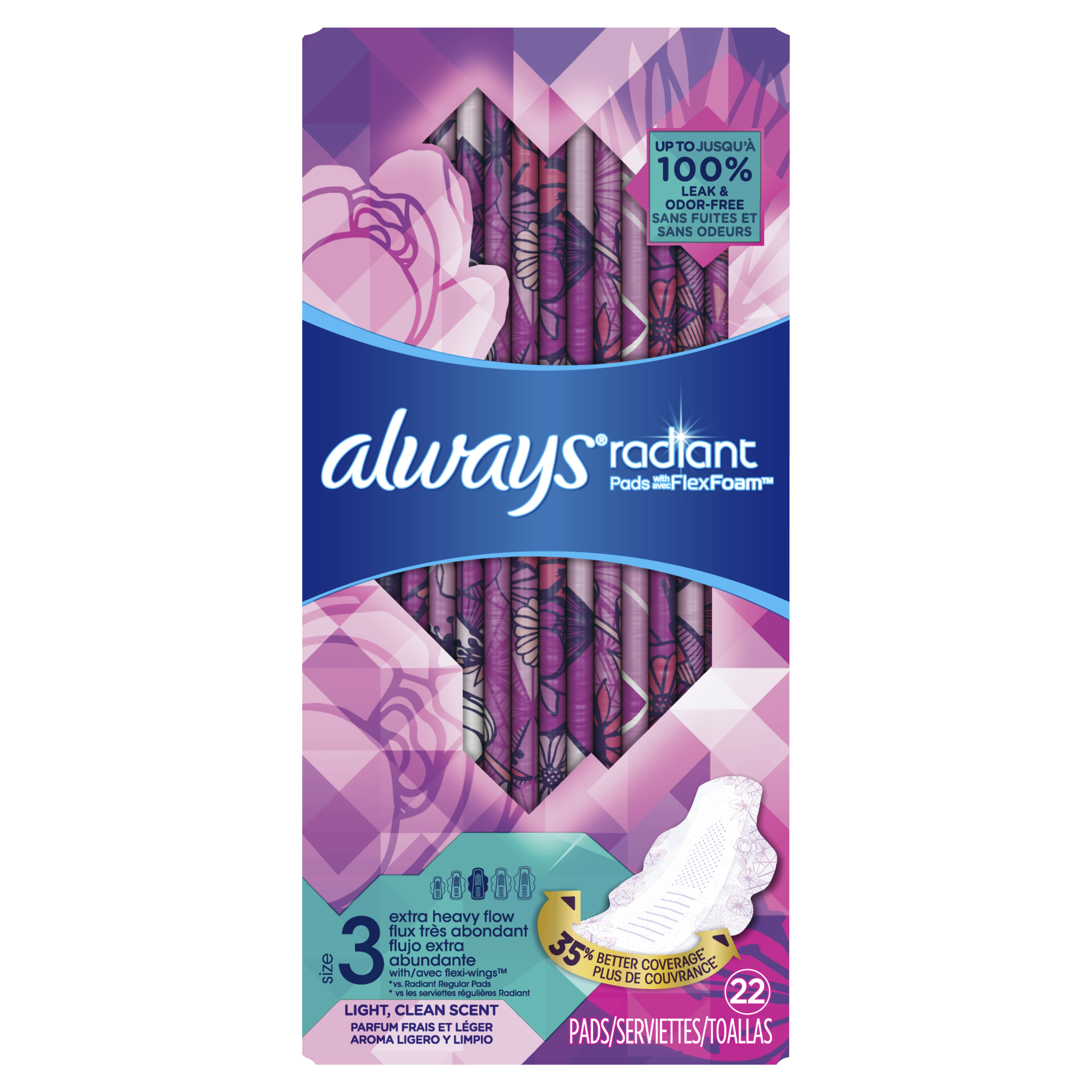 Always Radiant Pads, Size 3, Light Clean Scent, Extra Heavy Flow, 22 Count