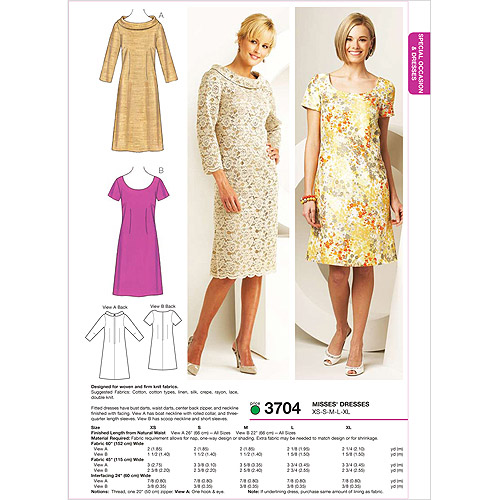 Kwik Sew Pattern Dresses, (XS, S, M, L, XL)